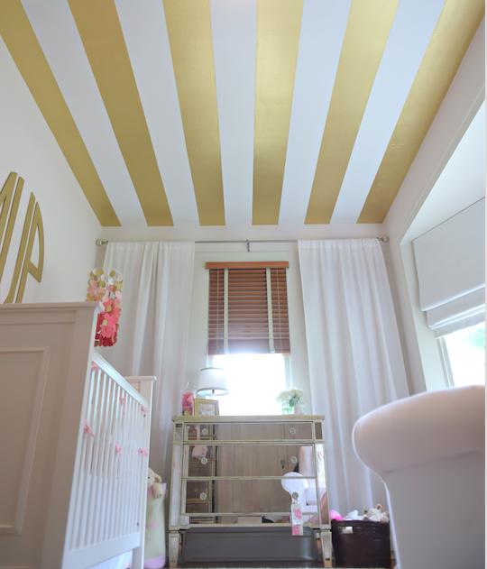Pink and Gold Stripe Nursery Striped nursery, Gold