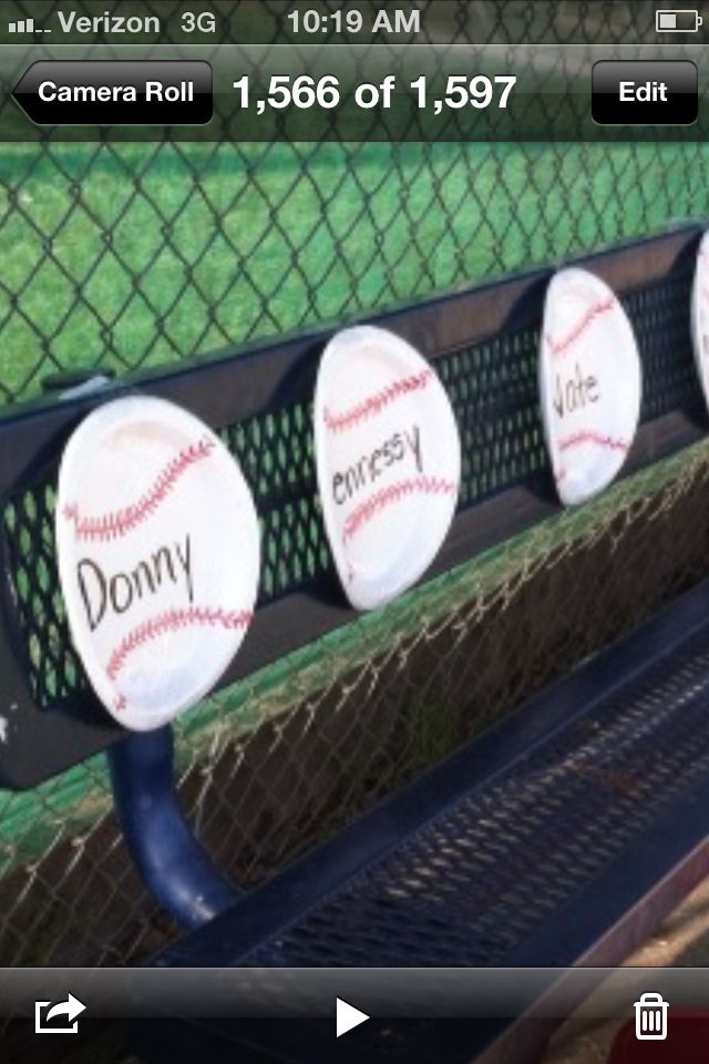 Baseball paper plates with players name in the middle placed in battering order just get plain paper plate with red sharpy & Baseball paper plates with players name in the middle placed in ...