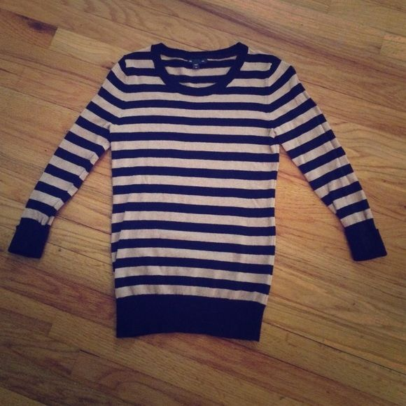 Striped Sweater Black and Tan/camel 3/4 sleeve sweater, great condition! GAP Sweaters Crew & Scoop Necks