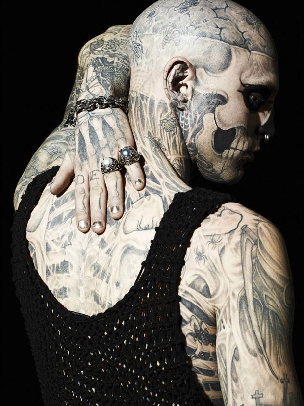 Rick Genest by aline & Jacqueline Tappia for GQ