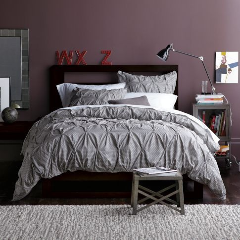 Pin tucked duvet cover and pillow shams from West Elm - Organic Rice Print