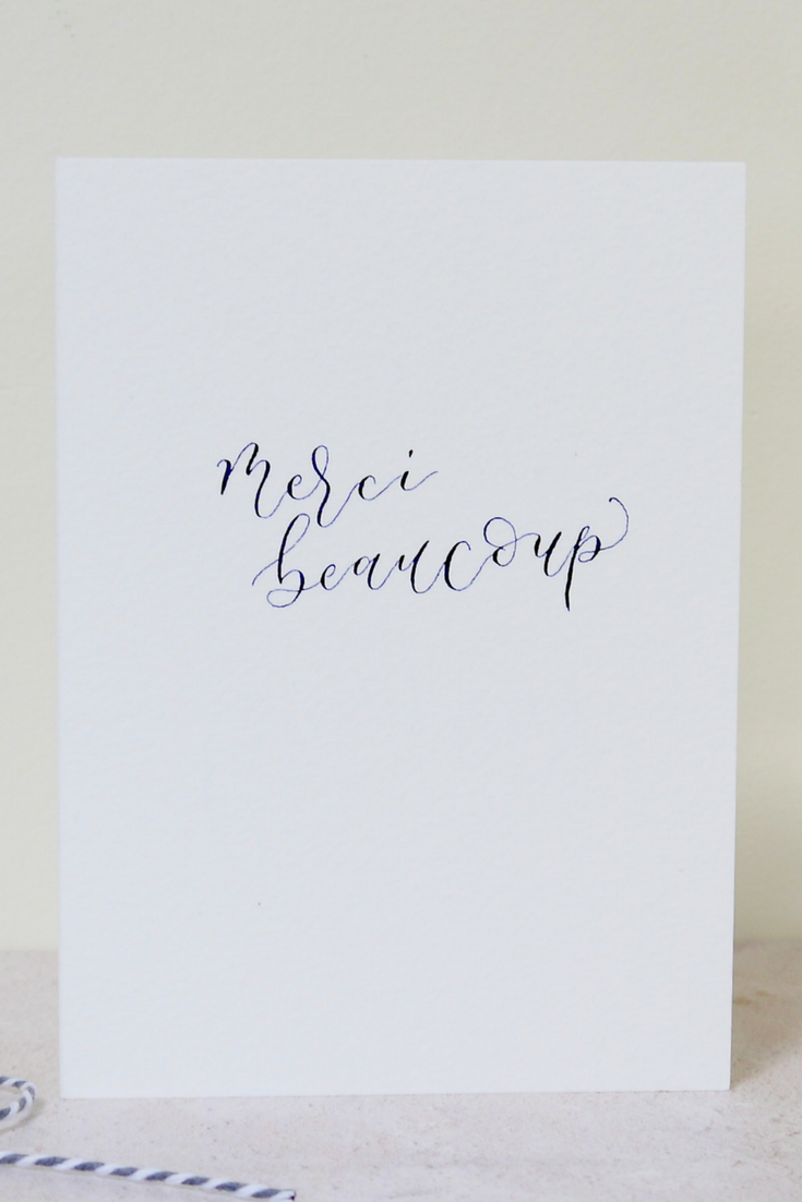 Merci Beaucoup Card Thank You Card French Calligraphy Card