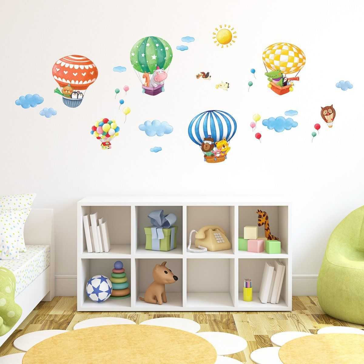 Decowall Animal Hot Air Balloons Peel and Stick Nursery Kids Wall Decals  Stickers
