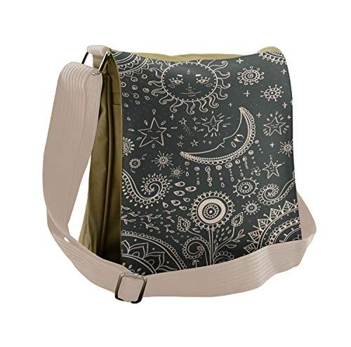 Lunarable Sun and Moon Messenger Bag, Celestial Boho Mandala, Unisex Crossbody is part of Bags, Multipurpose bag, Messenger bag, Casual bags, School bags, Grey and beige - SIZE 12 5 W x 12 H  Color of bag Beige  Color in printed image Charcoal Grey and Beige FEATURES 10  x 11  printed flap area  3 zippered compartments plus 1 zippered interior compartment  MATERIAL High quality polyester material  Adjustable shoulder strap up to 25   Sturdy and durable