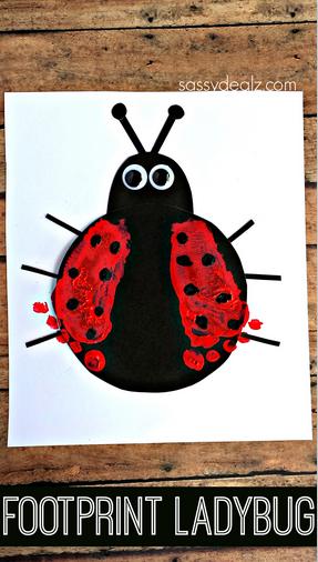 Footprint Ladybug Craft for Kids #Spring or summer art project