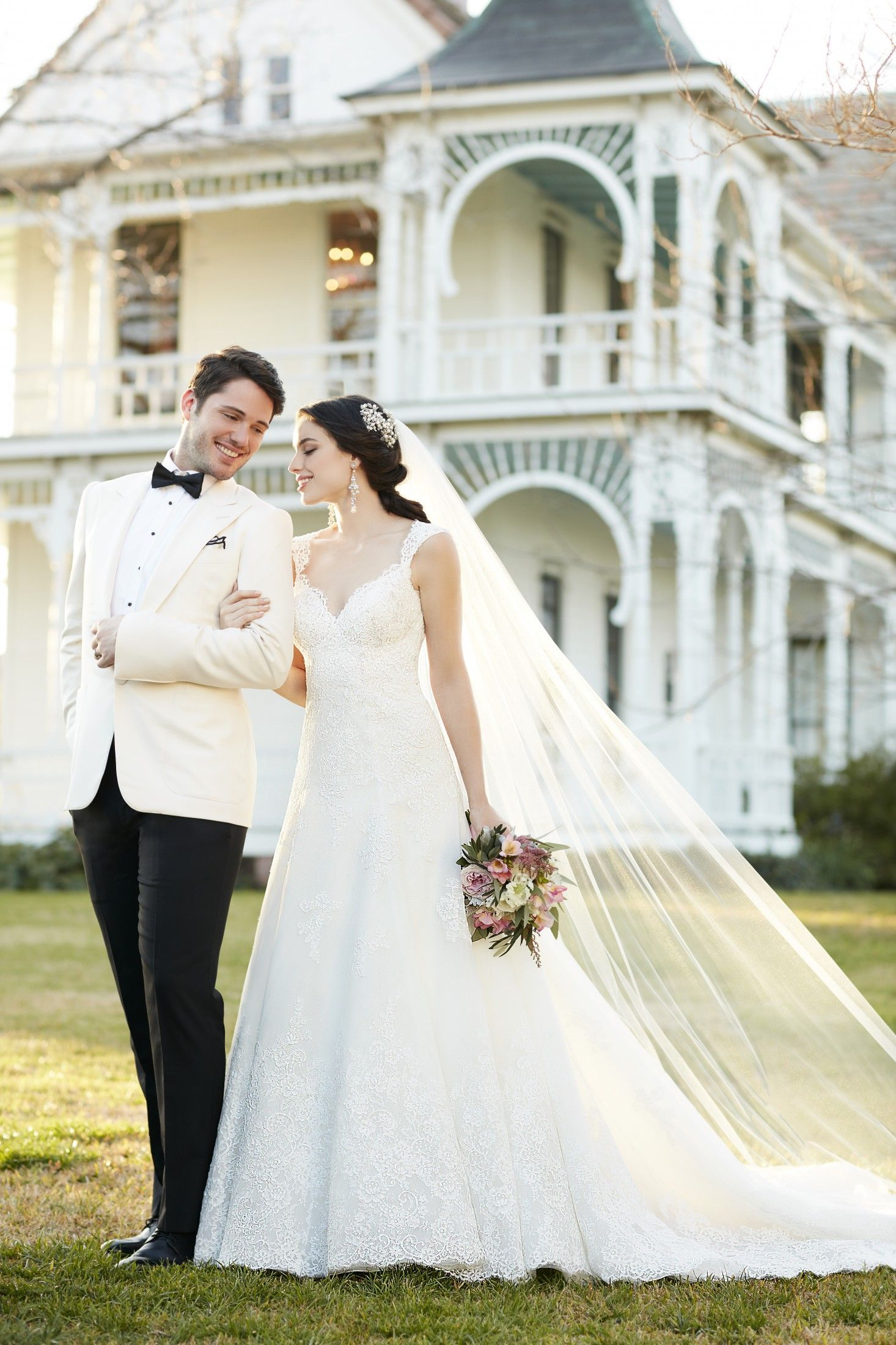 This aline bridal gown is made from vintagestyle lace on whisper
