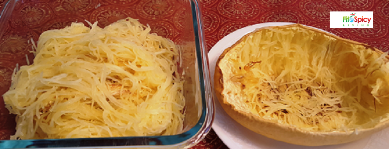 This is spaghetti winter squash; it looks like pasta and can be used as a low calorie replacement for regular spaghetti made from grain. Also a healthy choice when trying to reduce calories or for controlling carbohydrates with diabetes. 1 cup of boiled / baked spaghetti winter squash contains 42 kcal and 10 grams of carbohydrate. In comparison, 1 cup of boiled spaghetti (enriched grain) contains 221 kcal and 43.2 grams of carbohydrate.