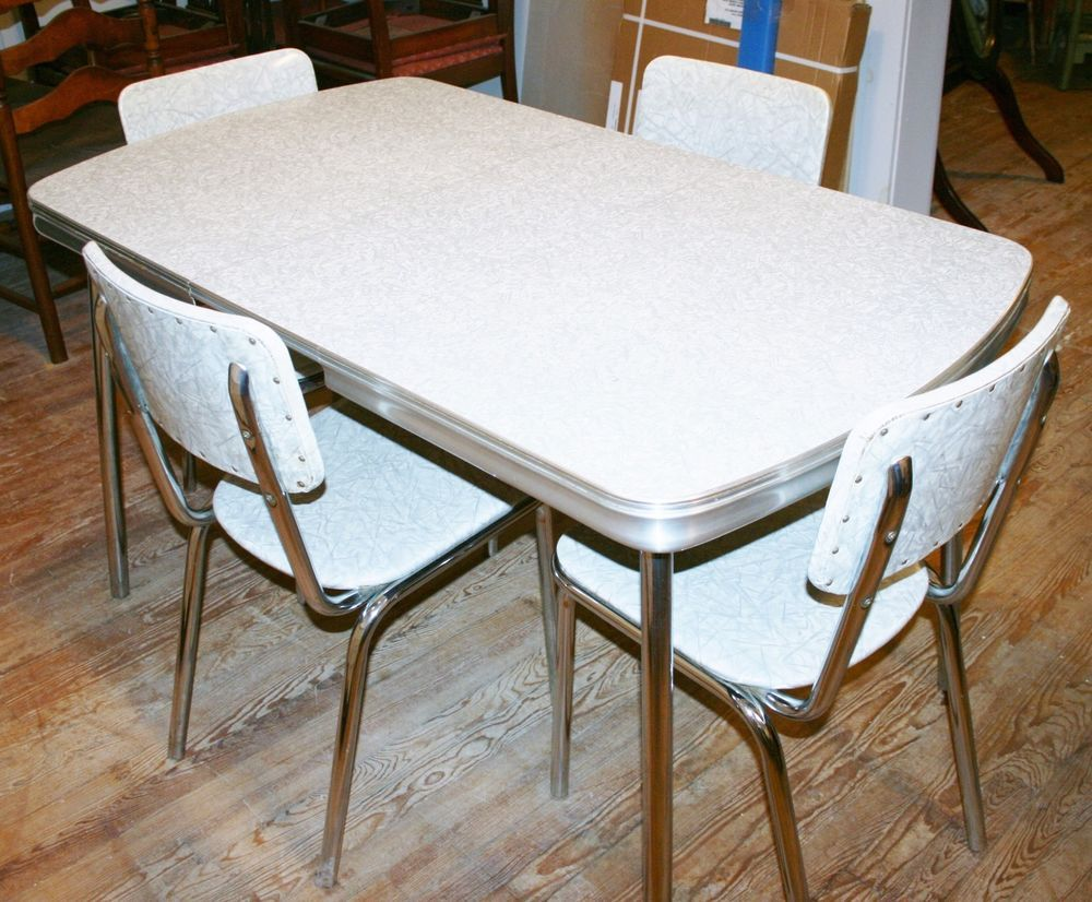 vintage 1950s kitchen dinette set table 4 chair silver gray