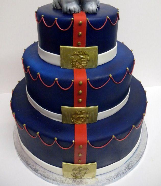 Fabulous Marine Corps Dress Blues Themed Wedding Cake Idea Marine Cake Personalised Birthday Cards Akebfashionlily Jamesorg
