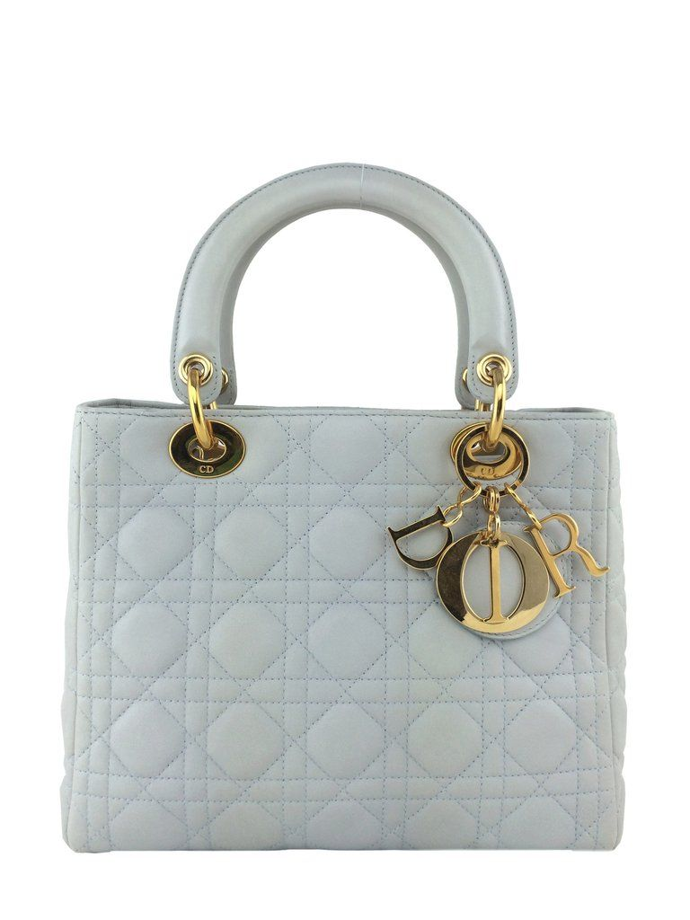 04066f4663b7 Christian Dior Cannage Quilted Lambskin Leather Medium Lady Dior Bag Ivory  - Consigned Designs - 1