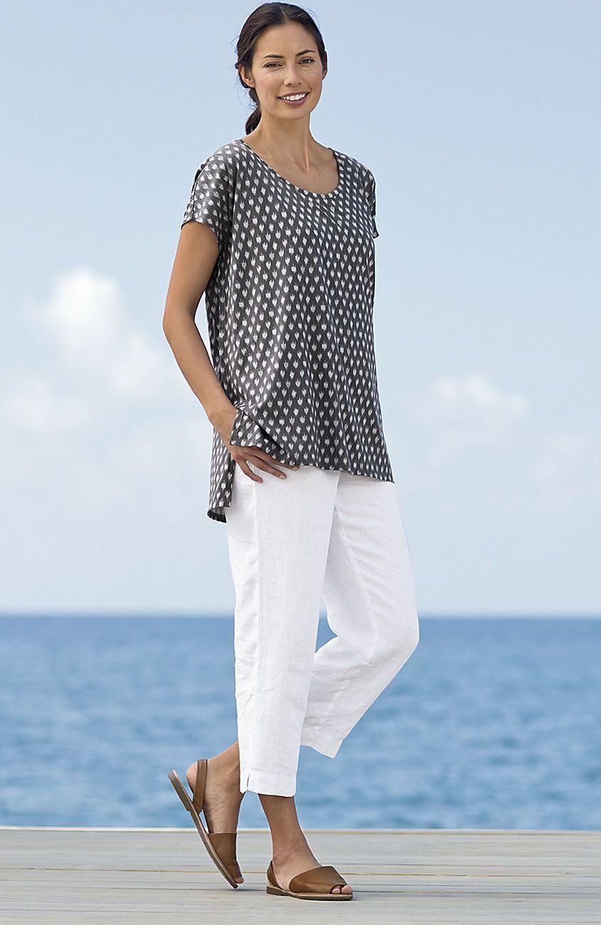 Pure Jill Linen Slim Crops Www Jjill Com Jjill Outfits Women Dresses Casual Summer Fashion [ 1300 x 845 Pixel ]