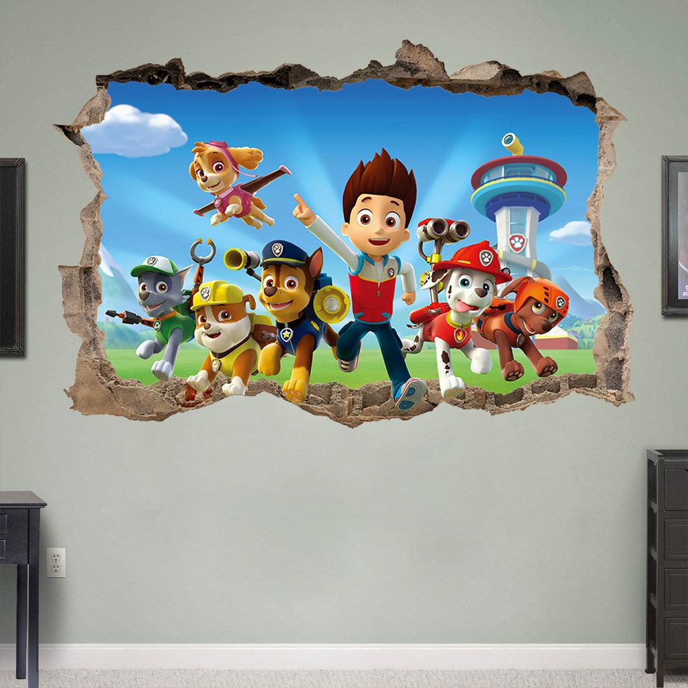paw patrol 3d wall sticker smashed bedroom kids decor vinyl paw patrol 3d wall sticker smashed bedroom by supertopwalldecals