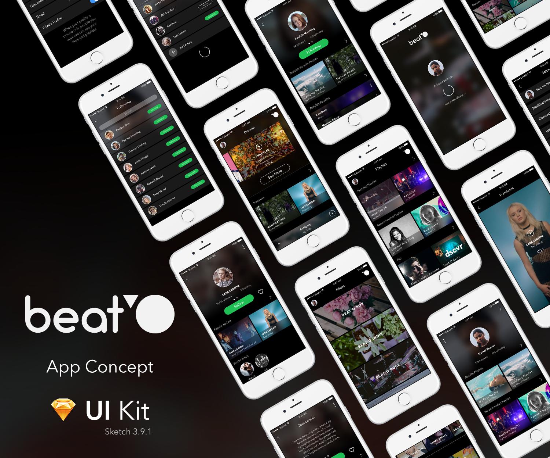 """다음 @Behance 프로젝트 확인: """"Beat'O UI Kit / Free Sketch Template"""" https://www.behance.net/gallery/42457347/BeatO-UI-Kit-Free-Sketch-Template"""