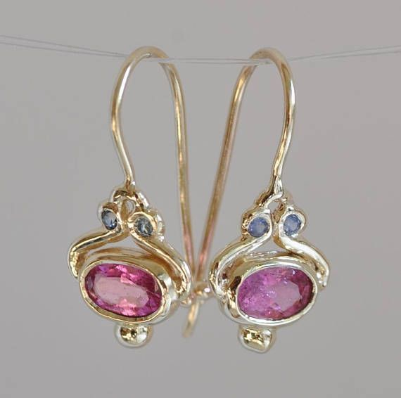 925 Sterling Silver Rhodium-plated Pink Tourmaline Teardrop Dangle Earrings