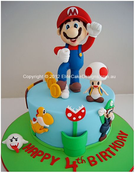 Super Mario Theme Birthday Cake for boys maybe I could make