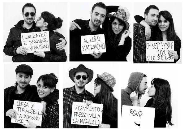 Partecipazioni Matrimonio Fotografiche.Partecipazioni Nozze Con Foto Sequenza Wedding Stationery With