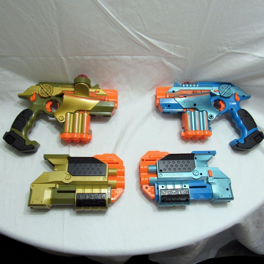 Nerf Lazer Tag Phoenix LTX Guns Tiger Lot of 2 Shotgun Attachment