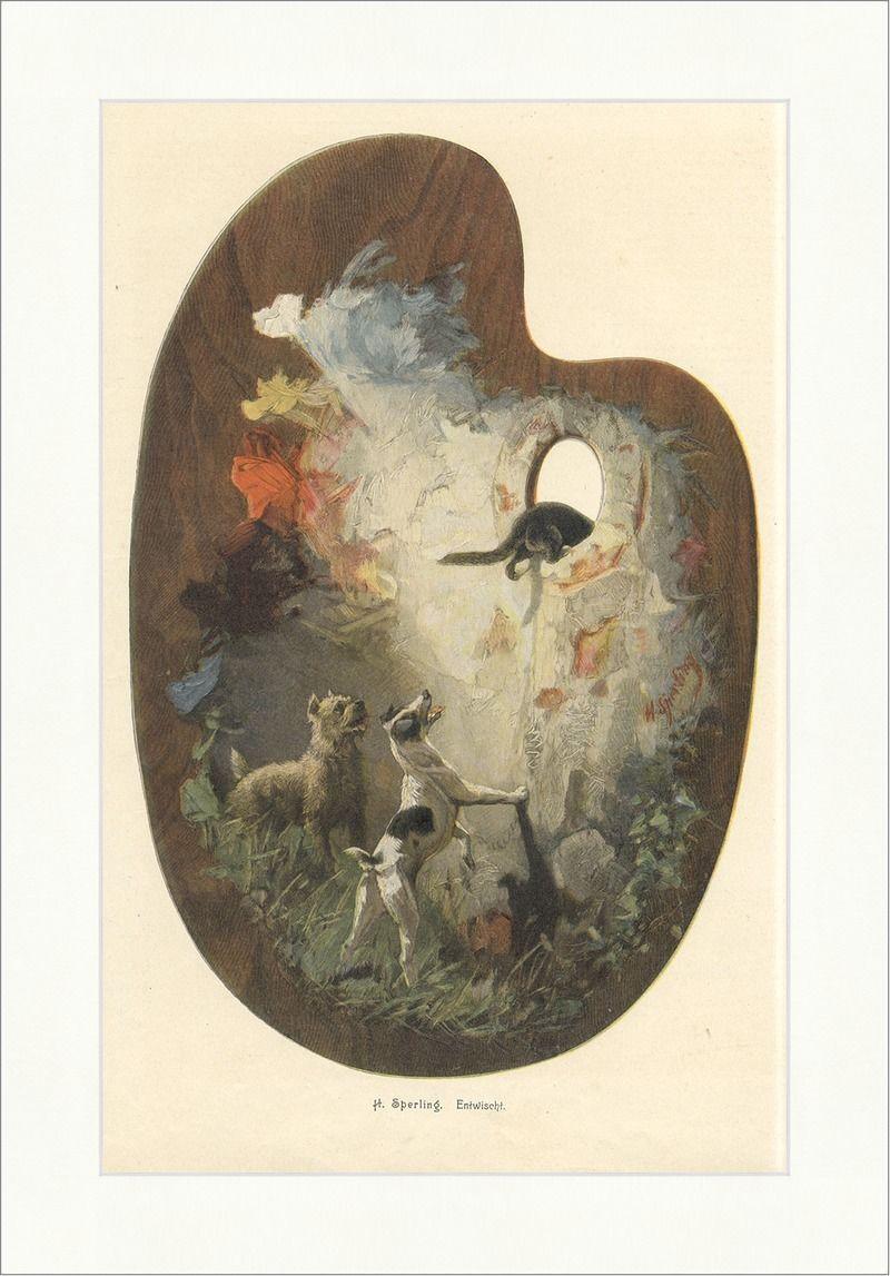 Entwischt Malen Farben Tiere Hund Katze Coloriert Holzstich E 8908 In  Antiquit�ten