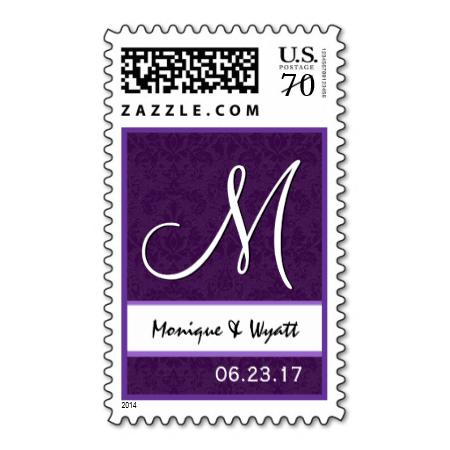 Royal Purple Wedding Names Monogram Ver B001 Postage Stamp #wedding #stamps #love #marriage #romance #bride #groom #jaclinart #love #postage #royal #purple #names #monogram