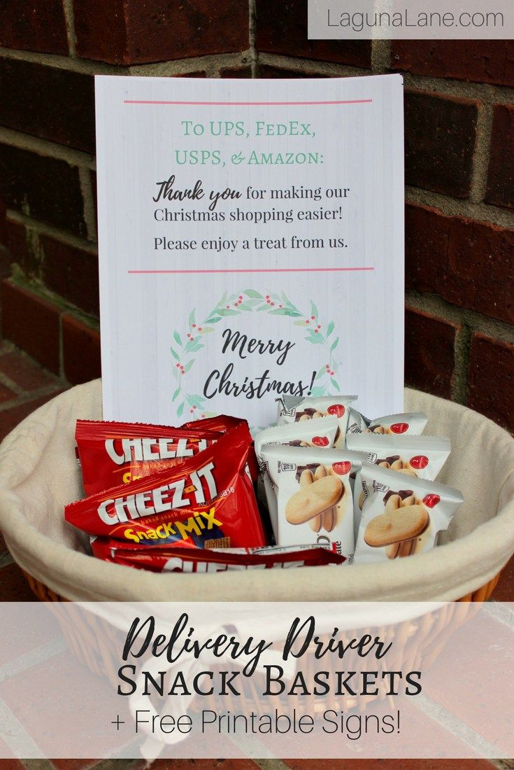 Delivery Driver Snacks Free Printable Thank You Signs Laguna Lane Thank You Baskets Christmas Service Projects Workers Christmas