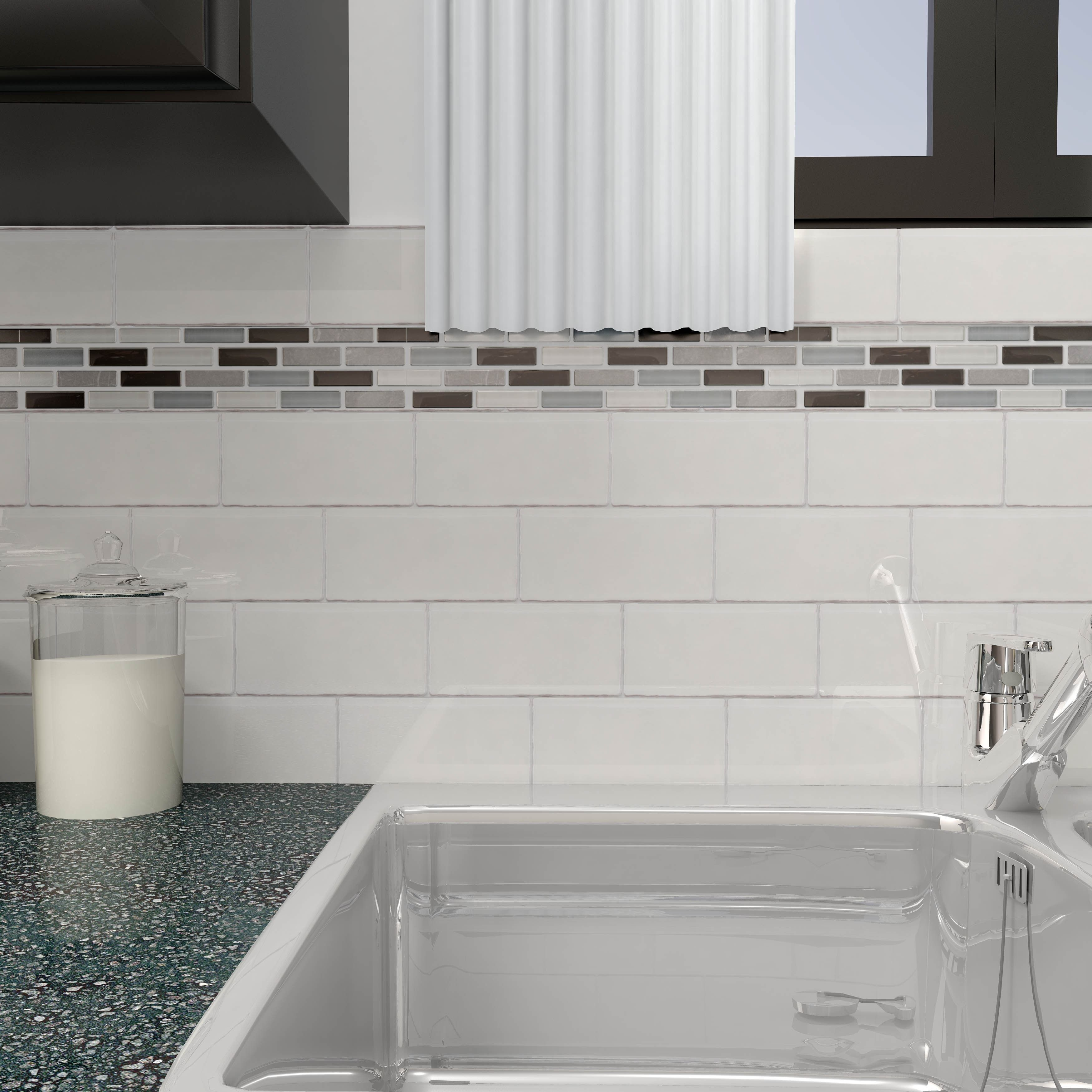 Somertile 3x6 Inch Gloucester Bianco Ceramic Wall Tile 16 Tiles 2 Sqft Wall Tiles Porcelain Wall Tile