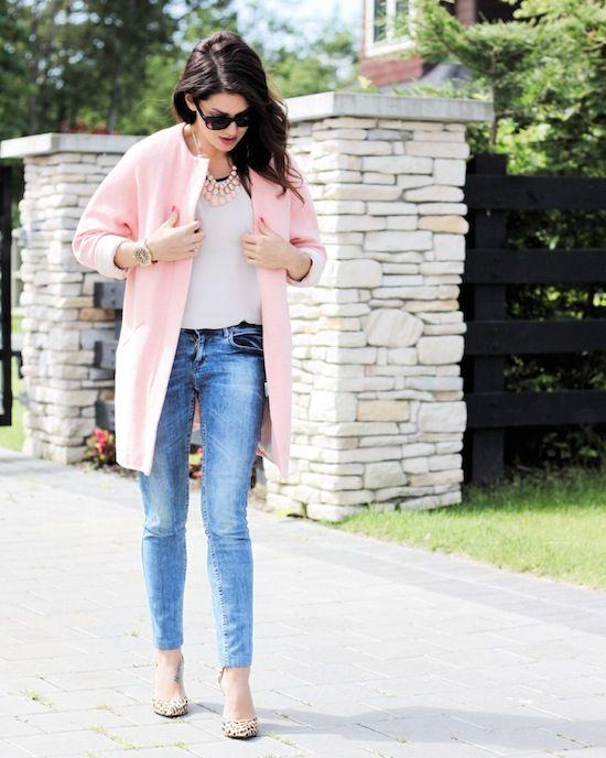 Jillian Harris in a light pink coat   causal denim
