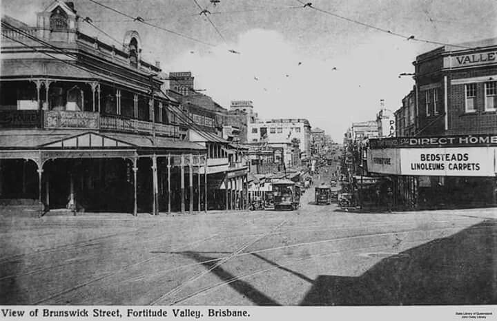 Looking down Brunswick St,Fortitude Valley,Brisbane in 1910,from St