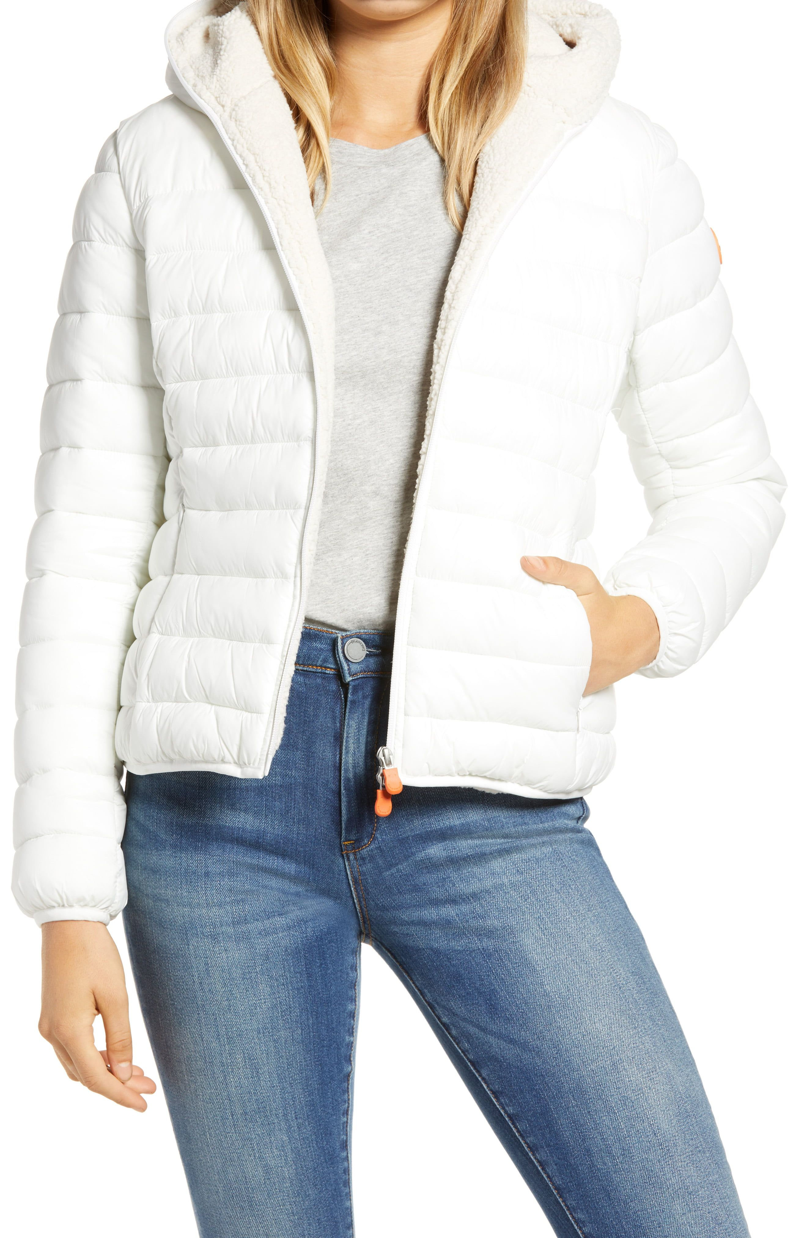 Save The Duck Giga Water Repellent Hooded Puffer Jacket With Faux Shearling Lining Nordstrom White Puffer Jacket Puffer Jacket Outfit Puffer Jackets [ 4048 x 2640 Pixel ]