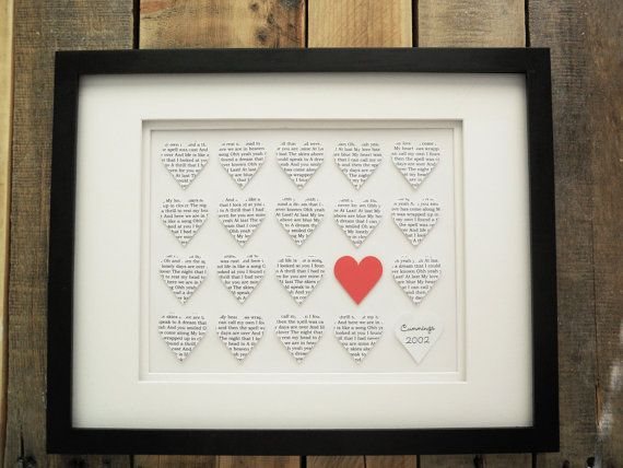 Paper Heart Collage 3D Musical Lyric By DomesticNotions On
