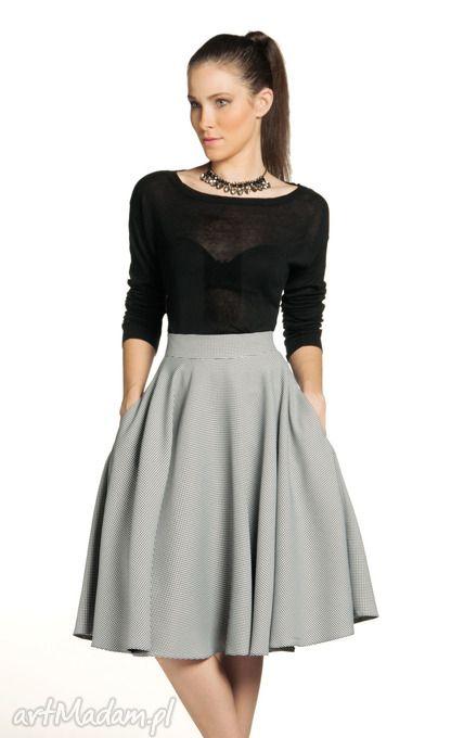 • spódnice, ubrania - spódnica z koła midi drobna pepitka
