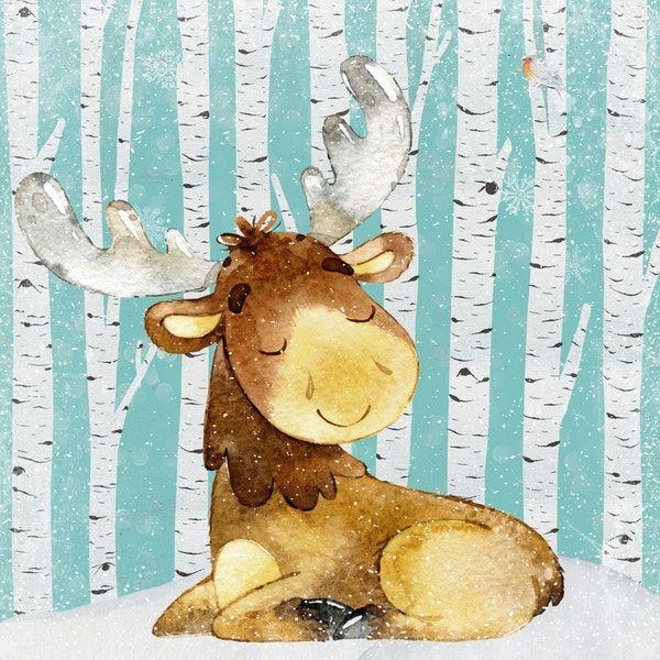 Happy Wintertime Deer Wall mural Deer poster, Deer