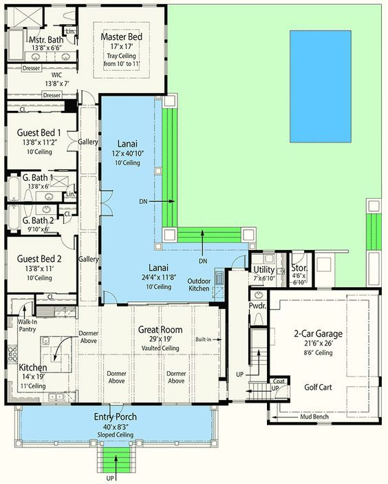 Plan 33161zr Energy Efficient House Plan With L Shaped Lanai L Shaped House Plans Energy Efficient House Plans Courtyard House Plans