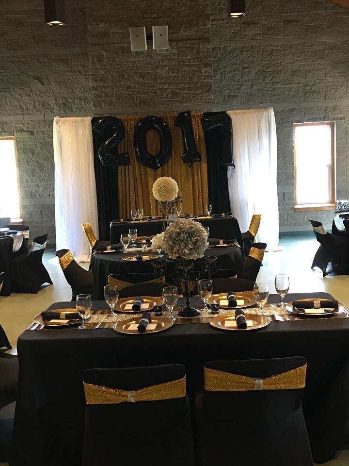 Black silver and gold graduationend of school party