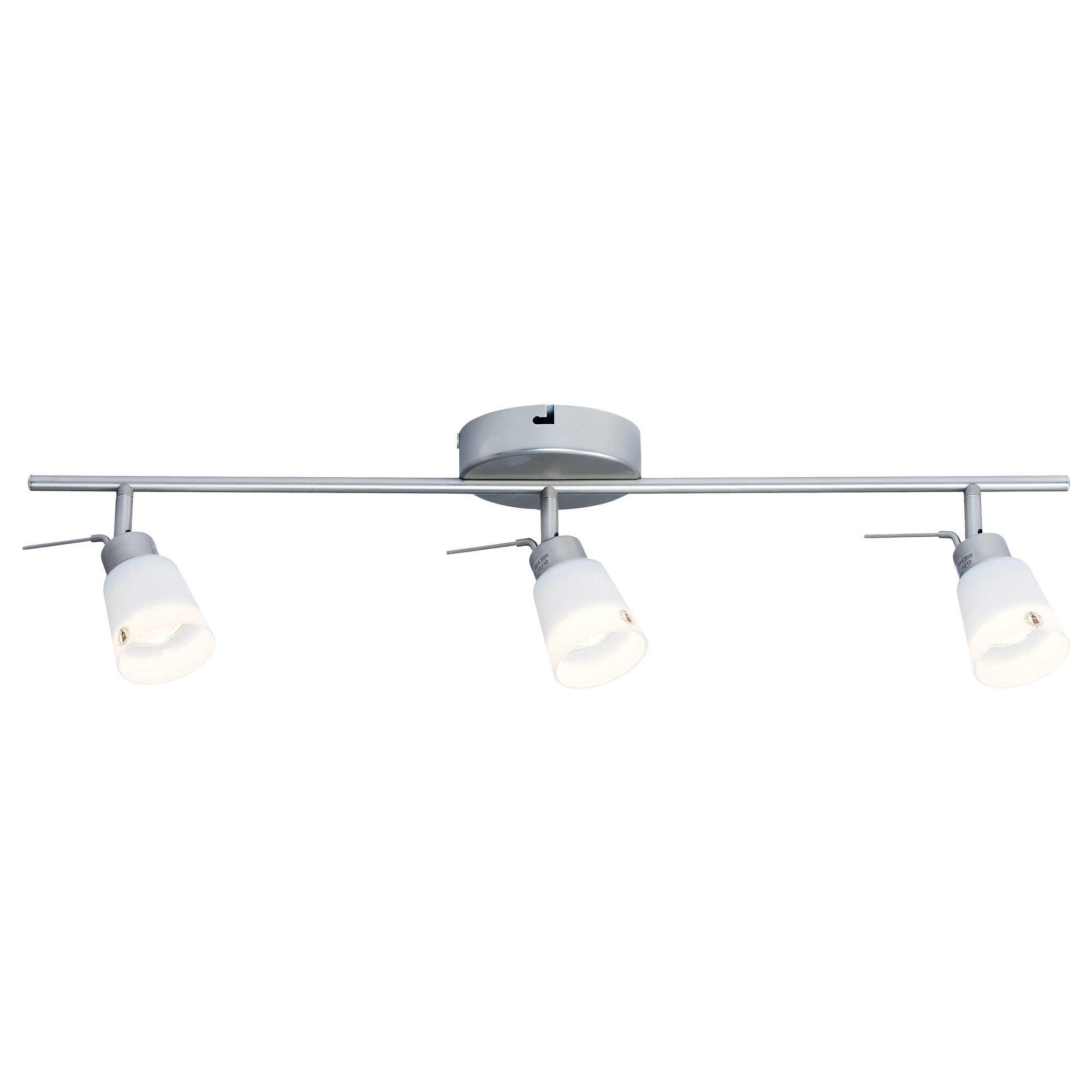 Basisk Ceiling Track 3 Spotlights Nickel Plated White