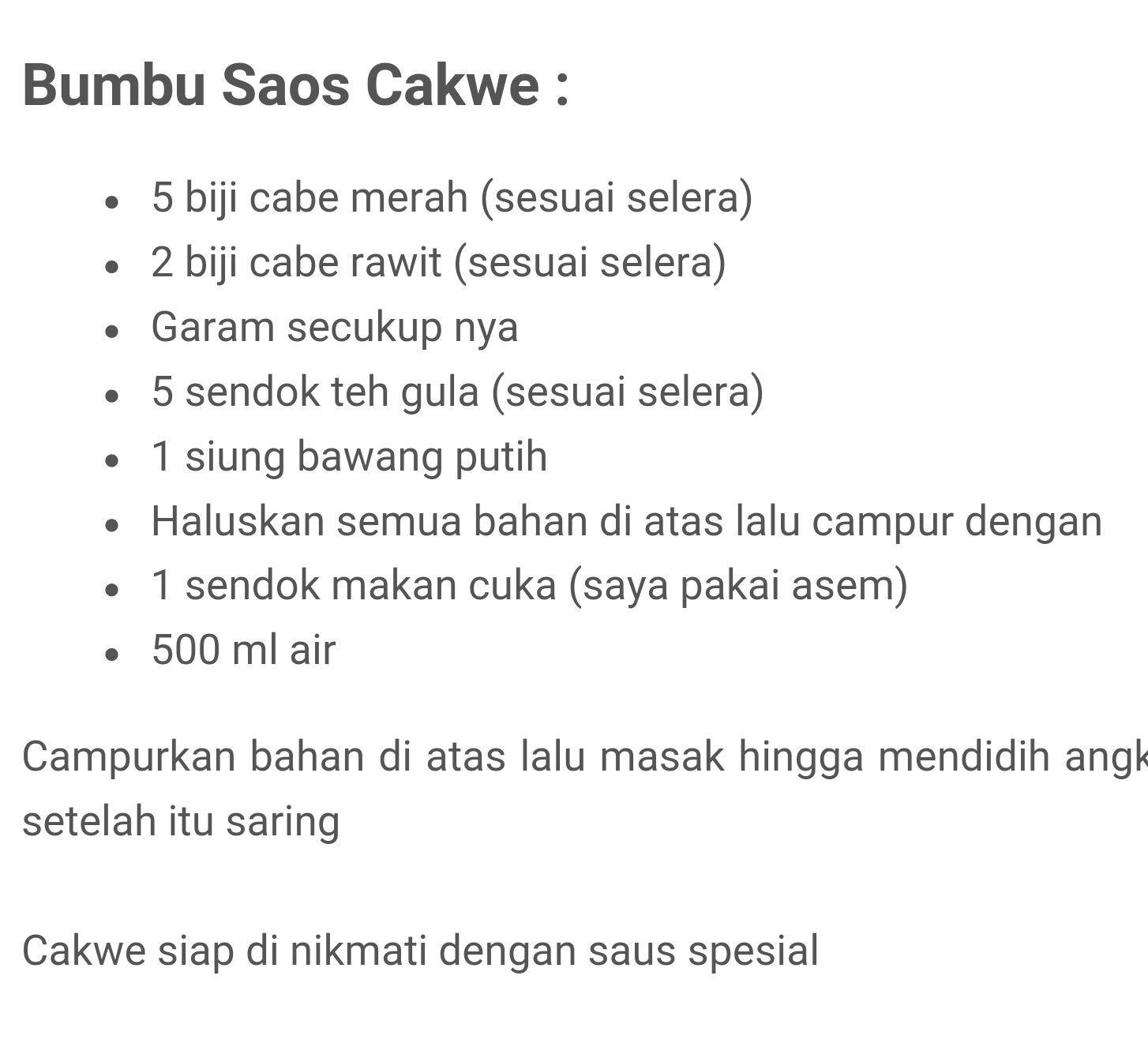Saos Cakwe Resep Masakan Makanan Resep