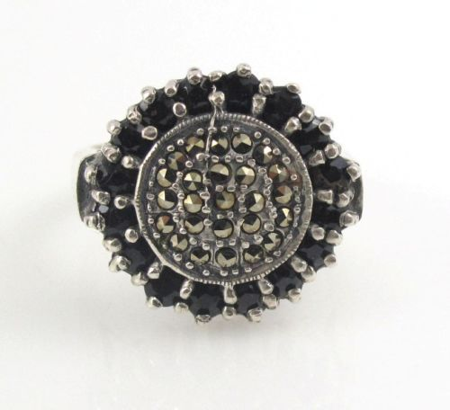 Circle-Round-Onyx-Stone-Marcasite-Stone-925-Sterling-Silver-Ring