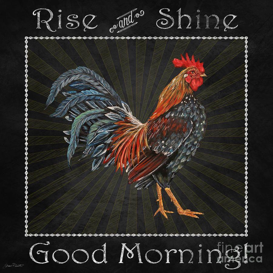 Good Morning Rooster-jp2614 Mixed Media by Jean Plout   Koguty, kury ...