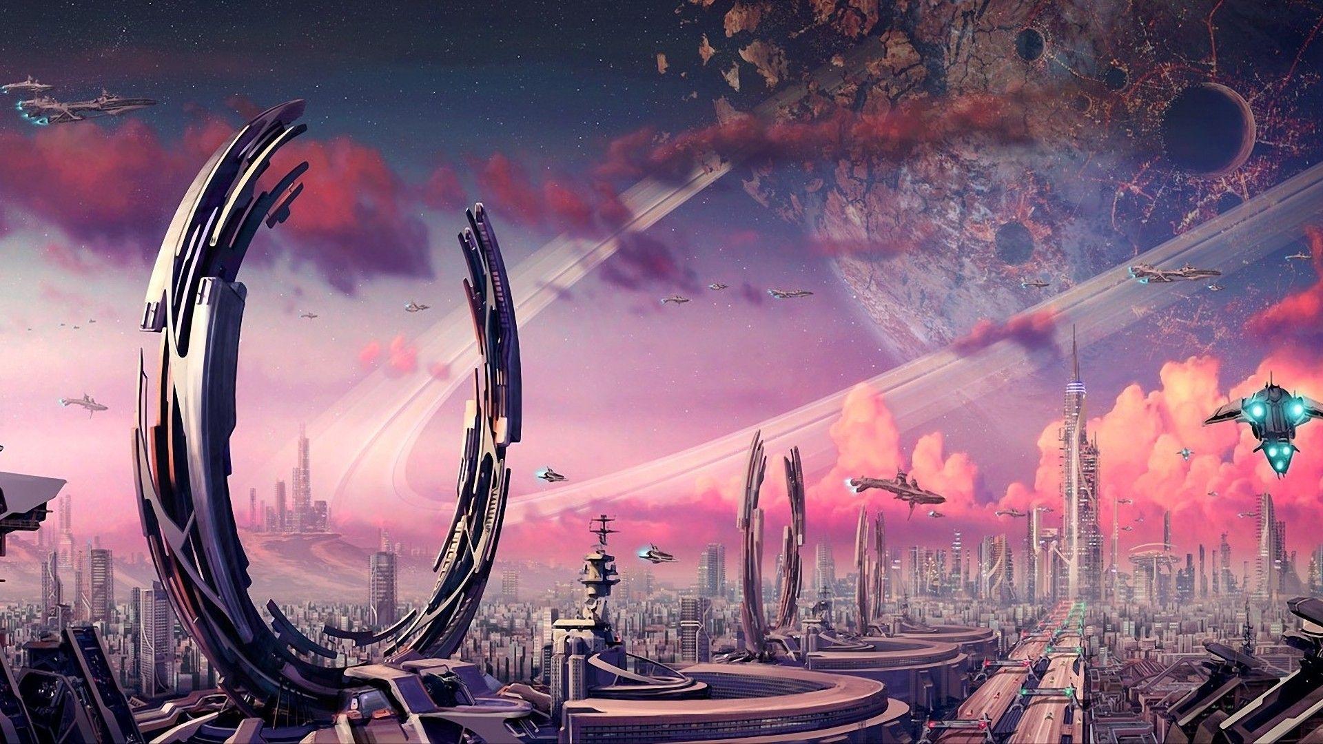 hd wallpaper starship space city purple wallpapershd