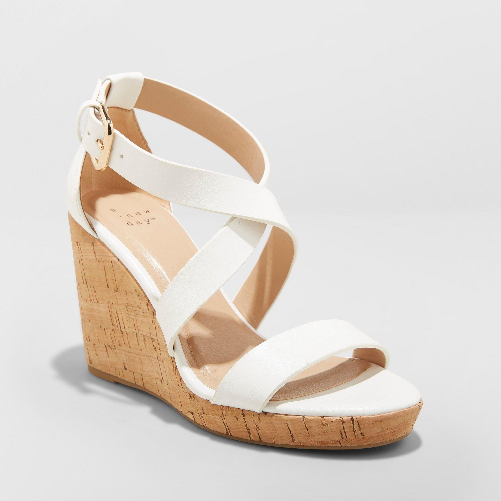 f743fcfd2 Women's Cecilia Strappy Cork Wedge Ankle Strap Sandal - A New Day White 8.5