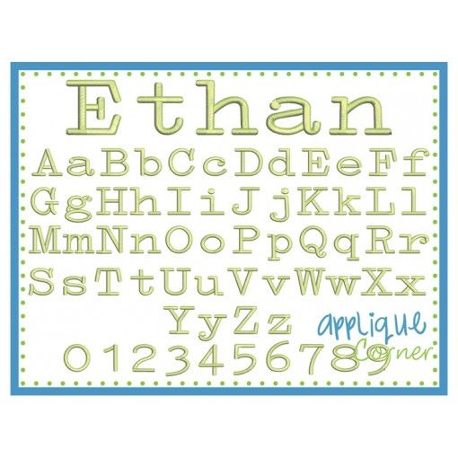 Ethan Embroidery Font