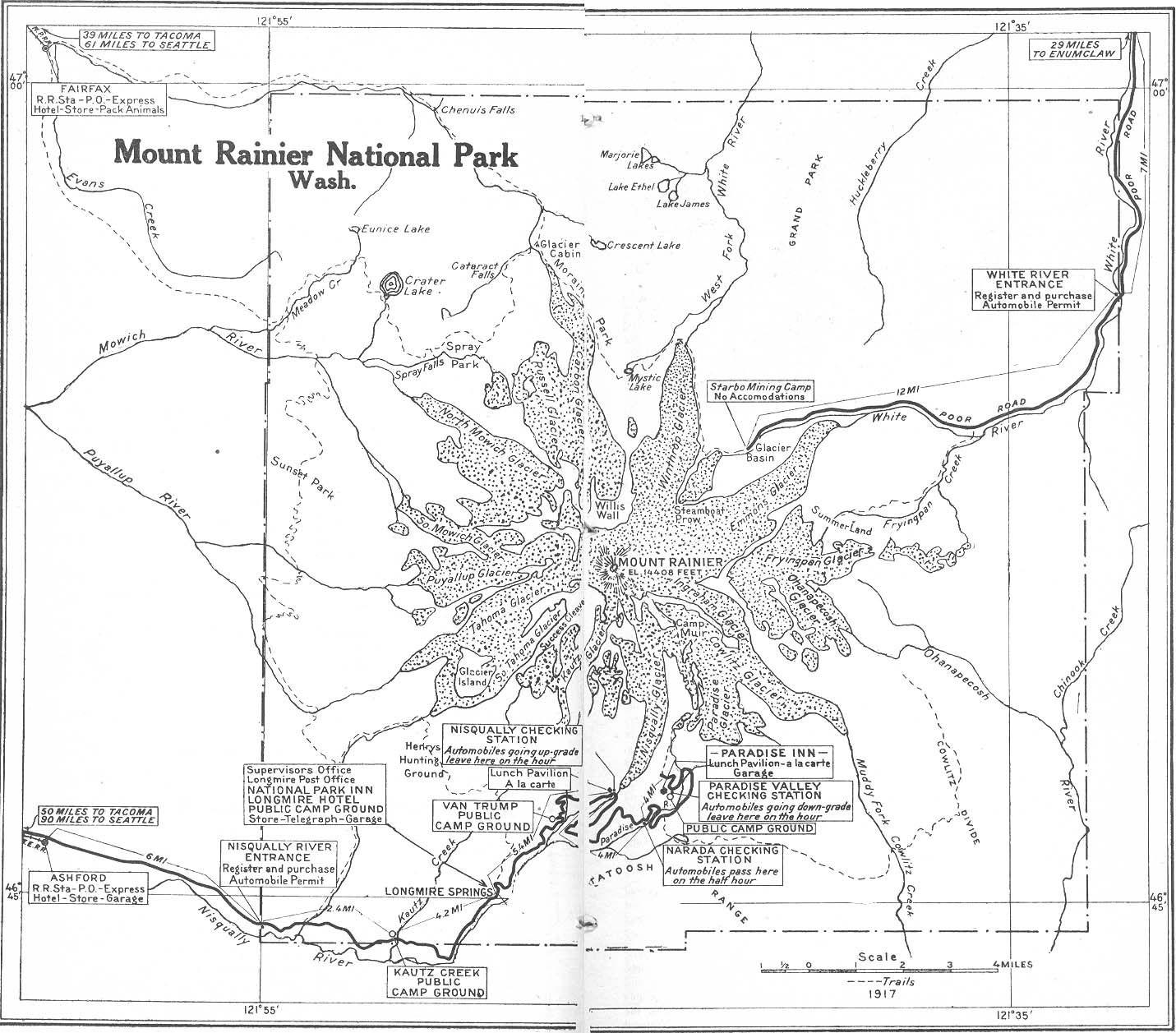 Map Of Mt Rainier Park