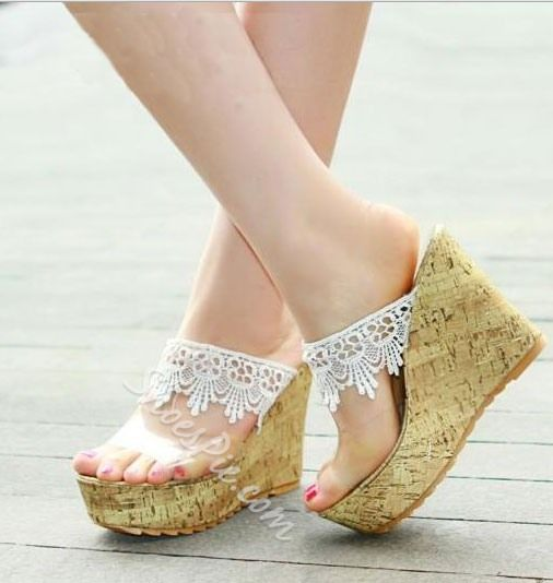 Cute Lace Wedge Heels Platform Girl