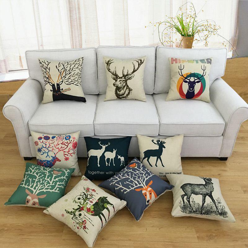 Linen Bantal Sofa Pinggang Mobil Rumah R Tidur Ruang Tamu 45x45 Cm Hot