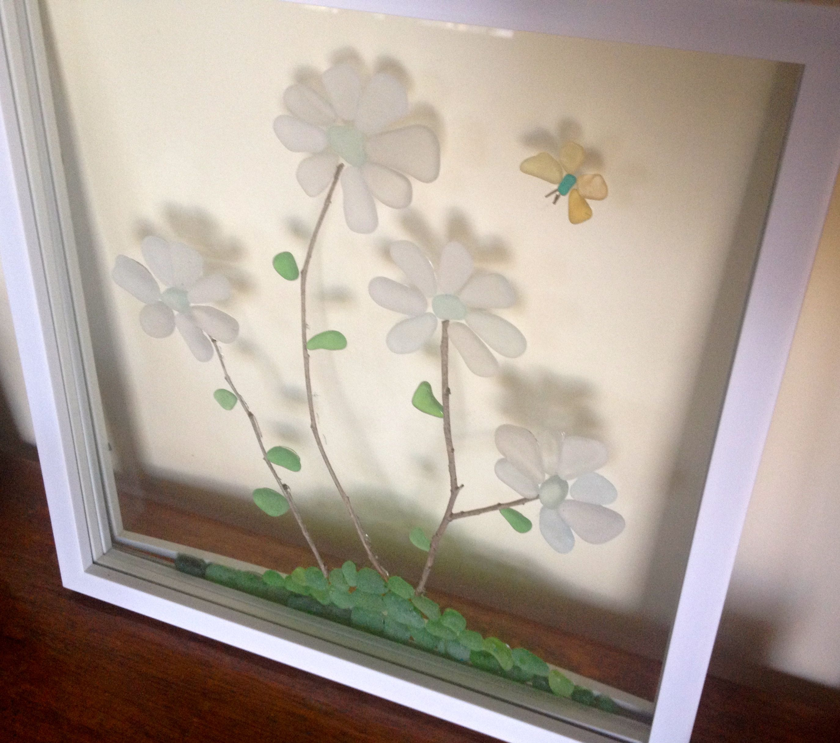 Sea Glass Flowers and Butterfly in Glass Frame | Seaglass ...
