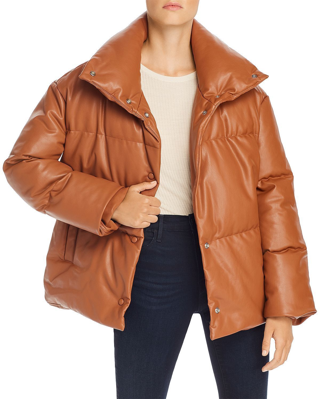 BAGATELLE Oversize Faux Leather Puffer Jacket in Cognac