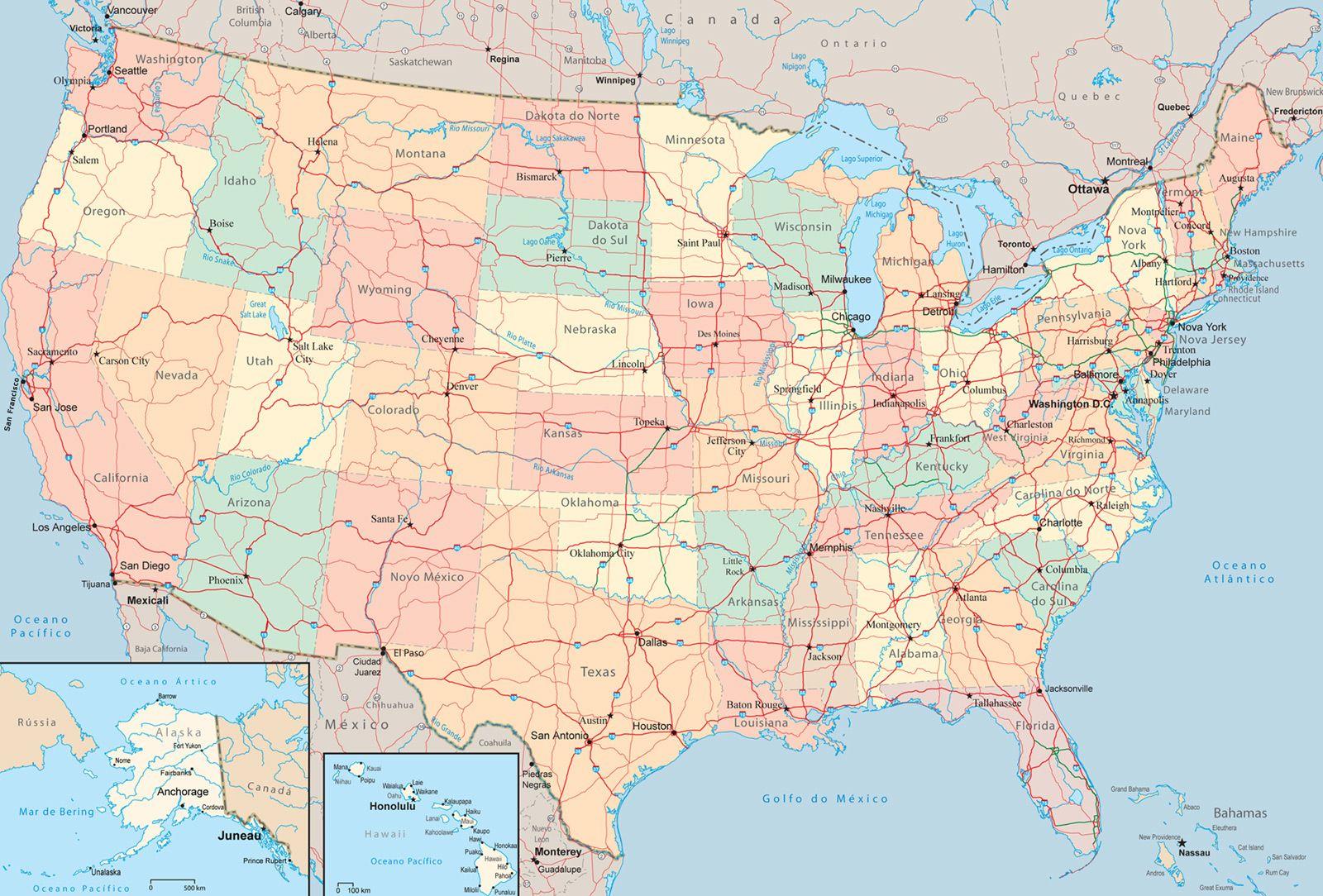 Mapa Estados Unidos EUA Pinterest United States - Mapas usa
