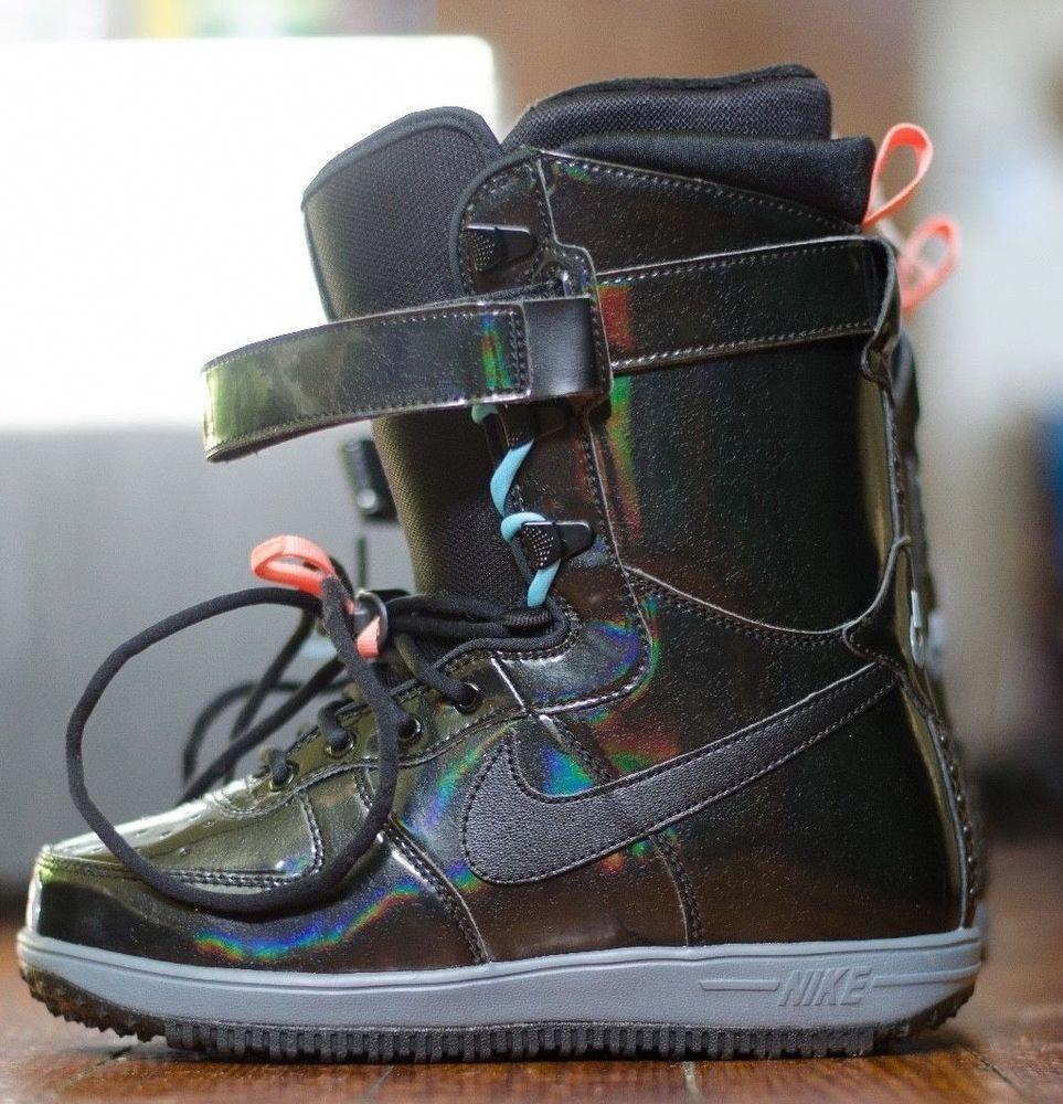 5995f73915 NIKE Women s Boot Snowboard Black Patent Iridescent Zoom Force 1 SZ 6.5  334842  Nike  snowboardboots