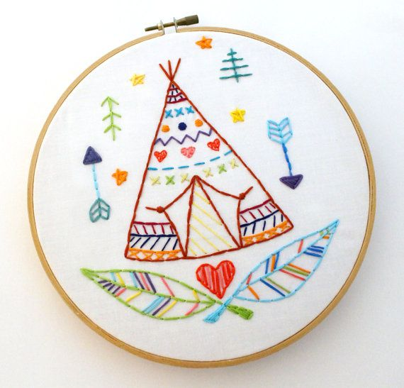 Teepee Pattern. Hand Embroidery. PDF Pattern. Embroidery Designs. Southwestern. Boho Hippy. Feathers. Arrows. Embroidery Hoop Art. tepee