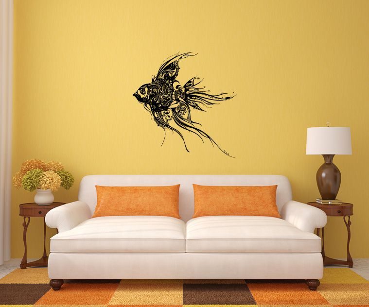 Abstract Wall Decals | Abstract Tropical Fish Large Vinyl Wall Decal ...