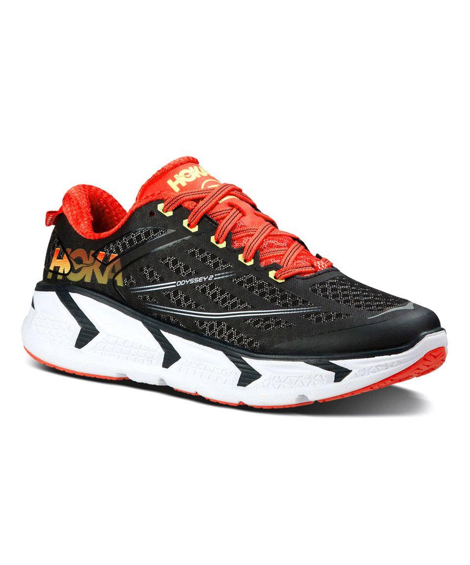 This HOKA ONE ONE Black & Red Odyssey 2 Running Shoe - Women by HOKA ONE